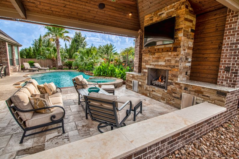 Outdoor Fire Pits and Fireplaces   Katy and Houston ... on Covered Outdoor Kitchen With Fireplace id=95284