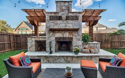 Standalone Fireplace and Outdoor Kitchen in Fulshear