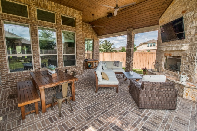 Patio Cover and Fireplace in Katy
