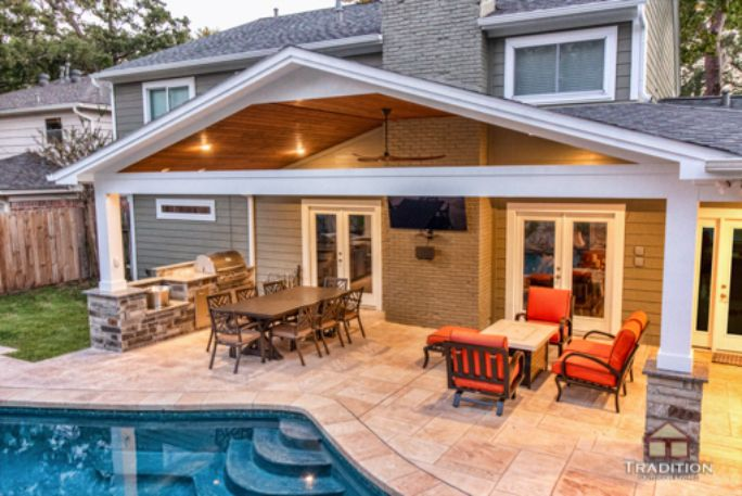 Patio Cover And Outdoor Kitchen In, Outdoor Covered Patio