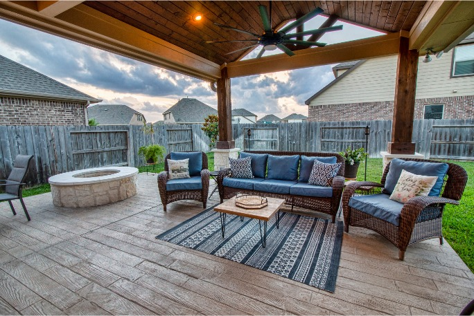 Cypress Patio Cover and Fire Pit